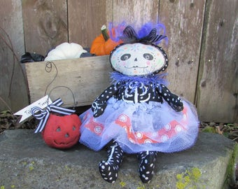 Halloween Art Collectible Doll - Day of the Dead - Dia de los Muertos - Sugar Skull - Violette- One of a Kind Collectible - Jointed Doll