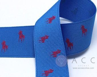3Yards 40mm(1 1/2'') Blue/Cherry Pink Riding Horse Print Grosgrain Ribbon