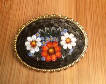 Vintage Micromosaic Black Floral Brooch, Italian Micromosaic Floral Pin, Micromosaic Brooch, Black Italian Mosaic Brooch, Gift for Her