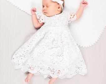 Lola Lace Newborn Dress, Newborn Christening & Blessing Dresses, Light Ivory Newborn Dress