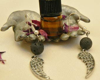 Angel Wing Earrings Lava stone Aromatherapy Jewellery