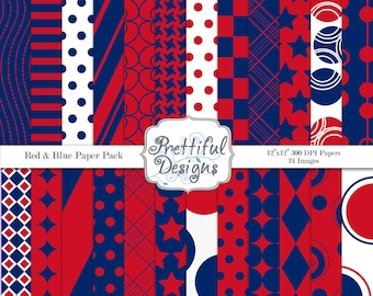 Red and Blue Sports Team Colors Digital Scrapbook Paper