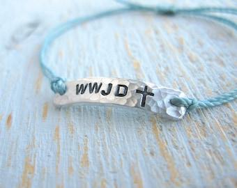 WWJD Bracelet, cross bracelet, faith bracelet, religious bracelet, WWJD, first communion bracelet, confirmation bracelet
