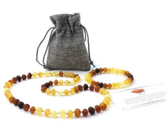 Baltic Amber Jewelry Set for Adults, Raw Modern Rainbow Necklace and Bracelet Set, Made from Unpolished Baroque Shape Baltic Amber Beads