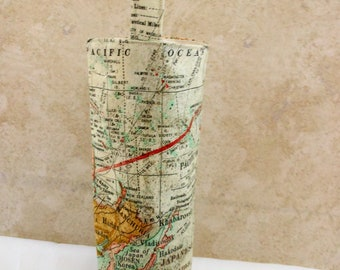 wine tote, world map theme for traveler, special going away celebration gift bag, global atlas carry all, birthday gift for him or her