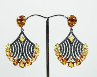 Art Nouveau Style (1890-1910) Sterling Silver Citrine and Sapphire Fan Stud/Drop Earrings