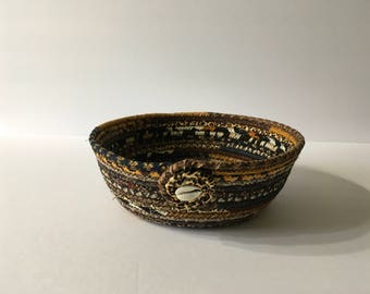 Ethnic Print Coiled Rope Bowl, African Print Fabric Bowl, Catchall Basket, Organizer Basket, Quiltsy Handmade