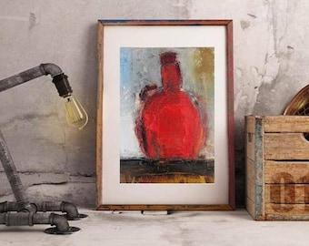Modern Abstract painting, Contemporary Still life, Small artwork, wine bottle original oil painting, Wine art, Modern kitchen decor, oil art