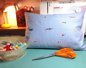 Embroidered swimming ladies cushion