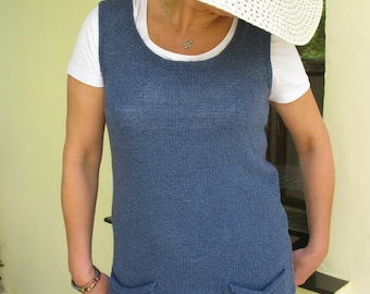 Sale 50% 70.00USD- 35.00USD Blue hand knitted cotton/linen tunic with pockets