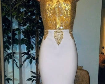 Gold & White Mermaid Wedding/Prom Gown