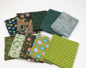10 Pack fat Quarter Bundle Cotton Fabric Shades of green