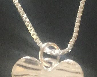 Small Heart pendant in Fine Silver, on Sterling Silver Box Chain FREE Fast Shipping.