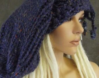 Accessory,Slouchy Hat,Handknit Hat, Super Slouchy Hat, Blue,Purple,Dreadlock Hat,Women,Winter,