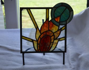 Art Deco Sun Stained Glass Panel