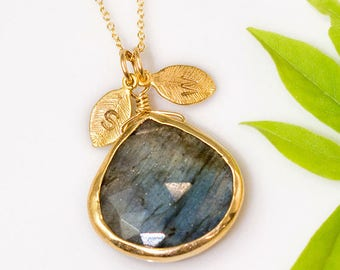 Natural Labradorite Necklace Gold, Personalized Initial Necklace, Rainbow Gemstone, Statement Jewelry, Stamped Necklace, Unique Gift Ideas