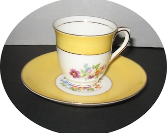 Vintage c. 1939 COLCLOUGH China  DEMITASSE Cup & Saucer - Floral w/ Yellow Band