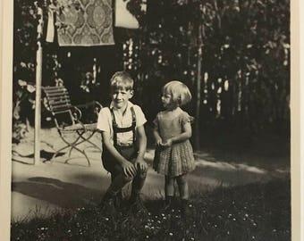 "Vintage Photo ""Charlie and Clara"" Snapshot Antique Black & White Photograph Paper Found Ephemera Vernacular Interior Design Mood - 56"