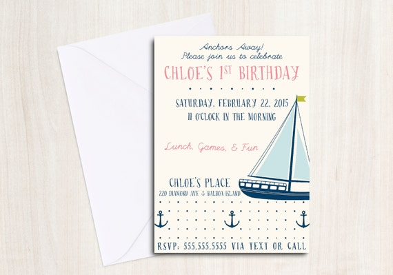 NAUTICAL Party Invite - Anchor's Away Party Invitation - Beach Party  - Party Supplies