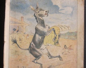 """1913 Exercise book of school illustrated""""The donkey and the eggs""""ornamental Annie Arbaud 1913 born in Marseille France in 1909 cahier école"""