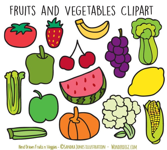 hand drawn clipart doodles fruits clip art vegetable clipart rh etsystudio com fruit and vegetable basket clipart fruit and veggie clipart