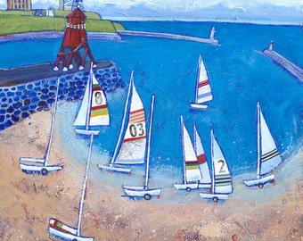 Sailing From South Shields - seaside print - coastal art - seaside picture - boats - beach - River Tyne - from a painting by Joanne Wishart