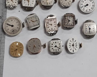 14pc ladies watch movements untested parts lot steampunk revintage damaged used