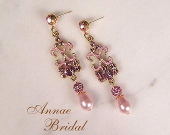 """Bridal earrings, blush pink pearl and rhinestone earrings, wedding, Swarovski, crystal, pink pearl, """"Devotion"""" earrings"""