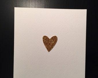 Heart of Gold Handmade Card - Wedding - Anniversary - Birthday - Boyfriend - Girlfriend - Valentines Day