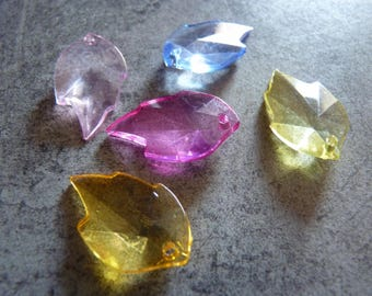 5 colored transparent acrylic leaf charms