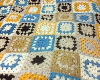 "Granny square Hand crochet baby Blanket car seat/stroller,afghan,trow,Baby Shower Gift, 56"" by 40"""