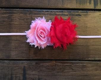 Pink and Red Valentines Headband, little girl, womens headband, Sweetheart