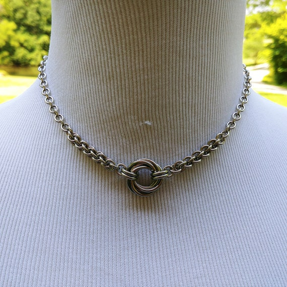 24/7 Wear Discreet Symbloic O Ring Day Collar Necklace, BDSM Submissive Slave Collar, DDLG, Stainless Steel Chain/Maille