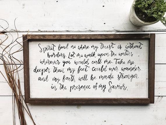 Hand painted wooden oceans lyrics pallet sign spirit lead me