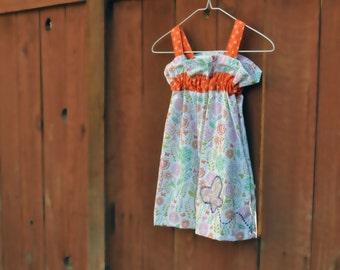 flowers and butterflies, girls dress, girls summer dress, girl clothes, dresses, sundress, girls summer clothing, size 3 toddler dress