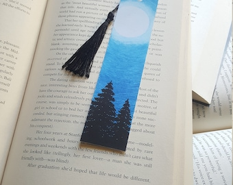 Beautiful Handmade Forest Night Bookmark