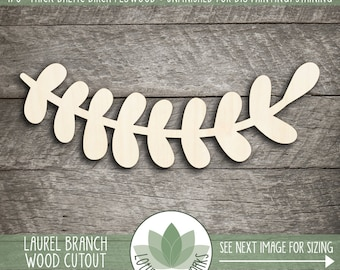 Laurel Branch Wood Cutout, Wooden Laurel Branch Shape, v, Unfinished Wood For DIY Projects, Wood Sign Making Supplies