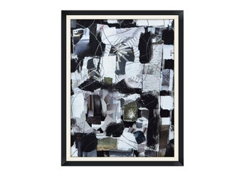 Abstract Collage Black and White Original