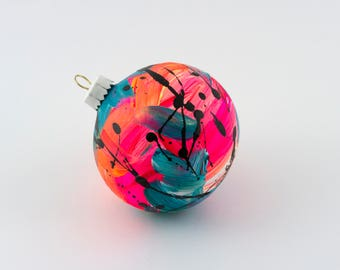 Hand Painted Bauble // Christmas Decoration // Pink, Yellow and Turquoise Limited Edition // God Colours Collection // Ceramic Ornament