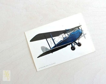 Airplane Postcard, Biplan, unused vintage cards, De Havillan Moth DH-60, Unused, Aviation, postcard collector