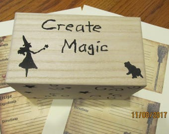 Create Magic Recipe Card Box with Witchy Recipe Cards