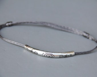 Bracelet vintage silver cord and ethnically motivated man