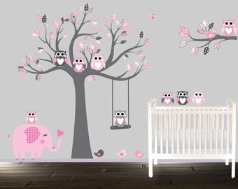 Owl Wall Decals, Wand Tattoo, Childrens Vinyl Wall Decal, Pink And Gray  Nursery