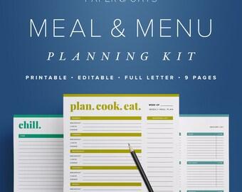 Meal Menu Planning Kit, Meal Planner Sheet, Daily Meal Planner, Weekly Meal Plan, Monthly Meal Planner, Healthy Meal Planner, Grocery List