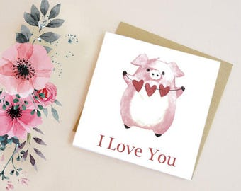 Greetings card Birthday card Anniversary card Pig card Card for wife digital art I love you card blank inside Cute digital art