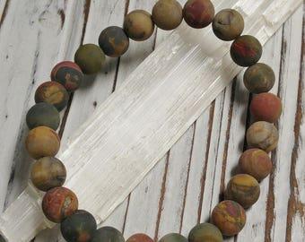 Natural Frosted Picasso Stone Bracelet, Meditation, Stackable, Stretch Bracelet, Boho, Natural Stone