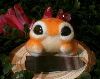 Cute Little Orange Crab Needle Felted Art Doll Critter Creature