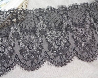 "8.6"" Black Eyelash Lace Trim Chantilly Style Lace Scalloped Edging Trim Lace 3 Yards"