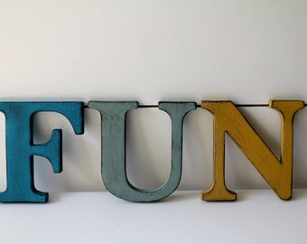 "FUN.   3.5"" Vintage Style Letters.  Hand painted and distressed."