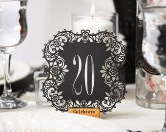 Wedding Table Numbers - Table Numbers Black - Table Numbers White - Table Numbers Kraft - Laser Cut - Wedding Table Decor - Table 11-20